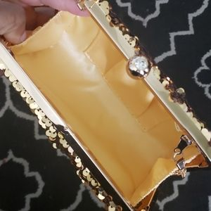 Bags - Gold Sequin Clutch